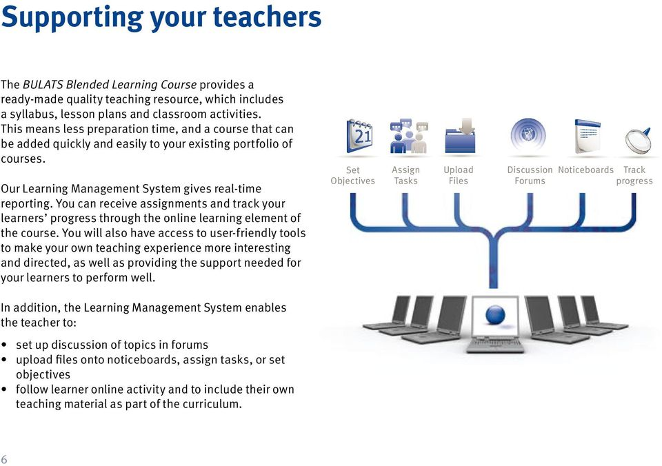 You can receive assignments and track your learners progress through the online learning element of the course.