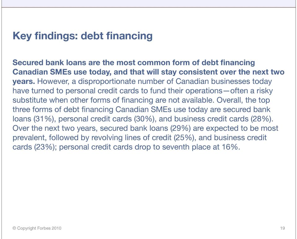 not available. Overall, the top three forms of debt financing Canadian SMEs use today are secured bank loans (31%), personal credit cards (30%), and business credit cards (28%).