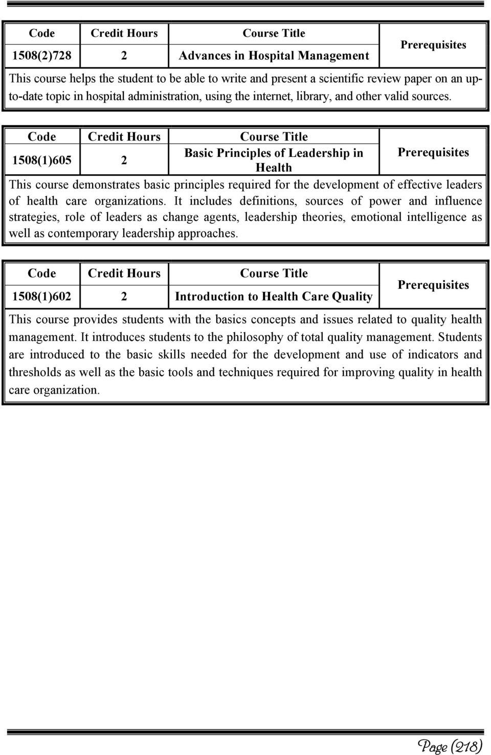1508(1)605 2 Basic Principles of Leadership in Health This course demonstrates basic principles required for the development of effective leaders of health care organizations.
