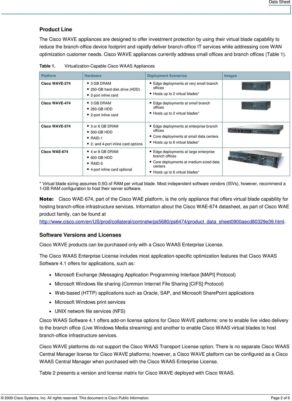 Virtualization-Capable Cisco WAAS Appliances Platform Hardware Deployment Scenarios Images Cisco WAVE-274 Cisco WAVE-474 3 GB DRAM 250-GB hard disk drive (HDD) 2-port inline card 3 GB DRAM 250-GB HDD
