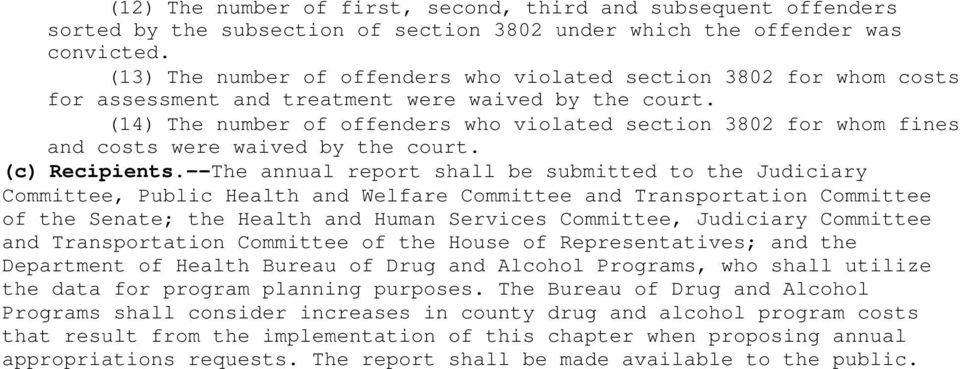 (14) The number of offenders who violated section 3802 for whom fines and costs were waived by the court. (c) Recipients.