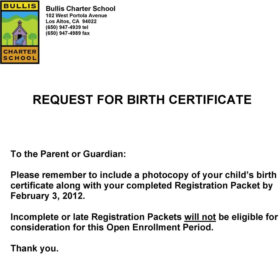 Registration Packet by February 3, 2012.