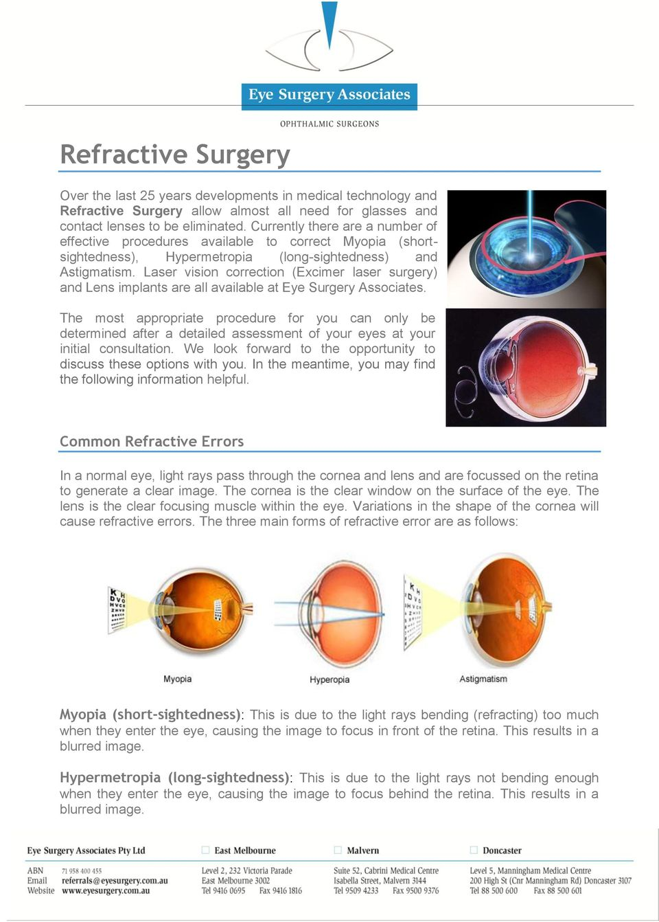 Laser vision correction (Excimer laser surgery) and Lens implants are all available at Eye Surgery Associates.