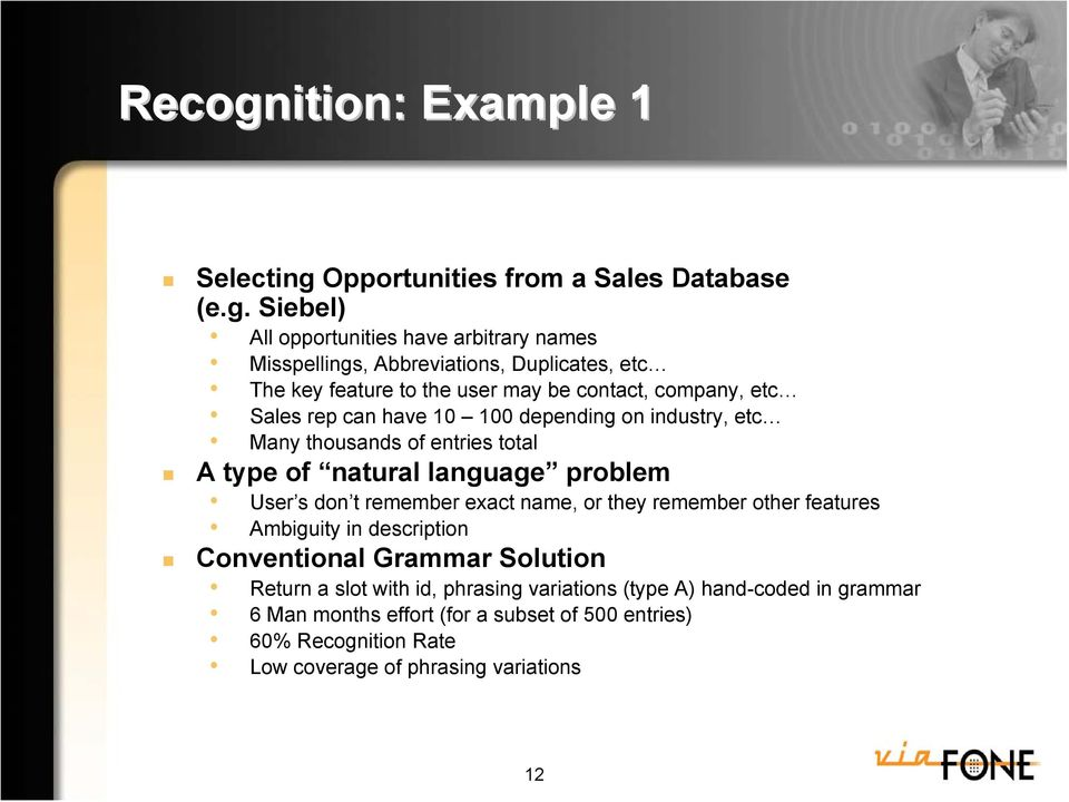Opportunities from a Sales Database (e.g.