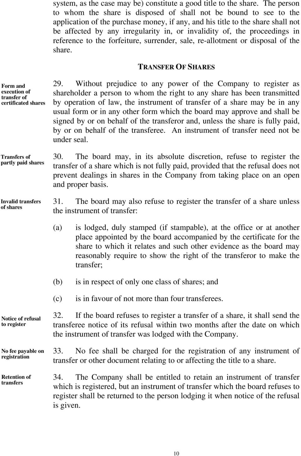 invalidity of, the proceedings in reference to the forfeiture, surrender, sale, re-allotment or disposal of the share.