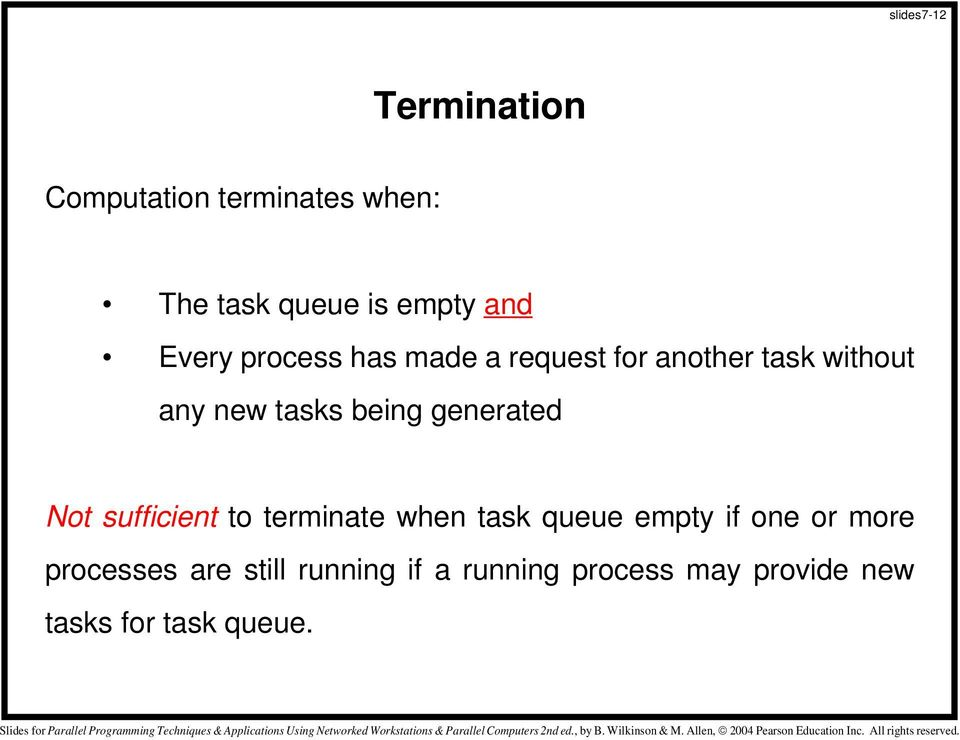 generated Not sufficient to terminate when task queue empty if one or more