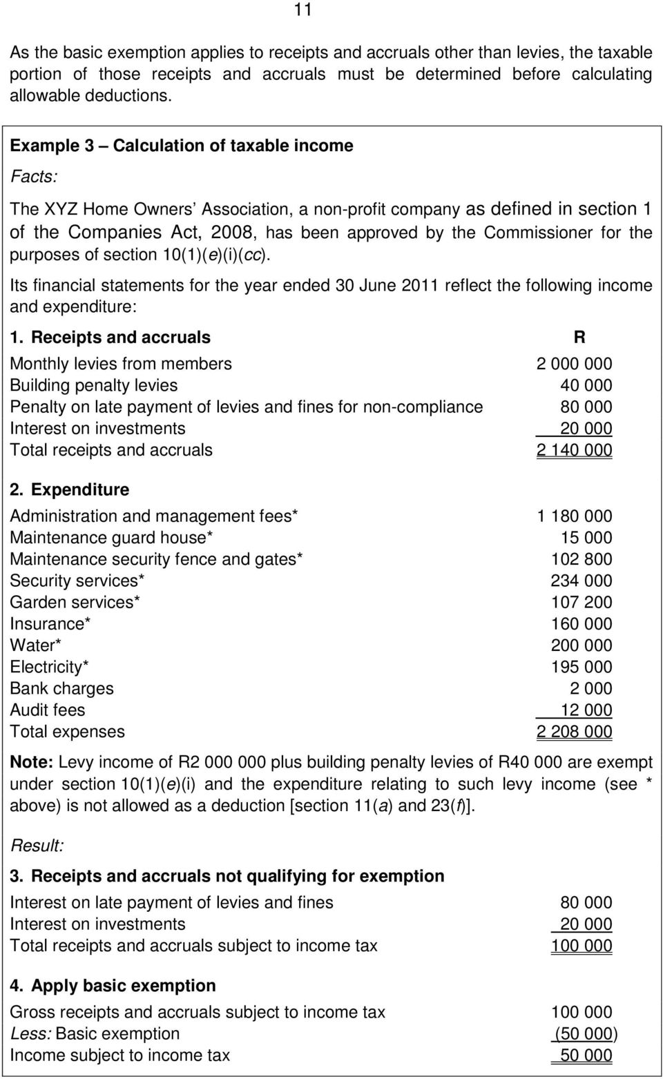 purposes of section 10(1)(e)(i)(cc). Its financial statements for the year ended 30 June 2011 reflect the following income and expenditure: 1.