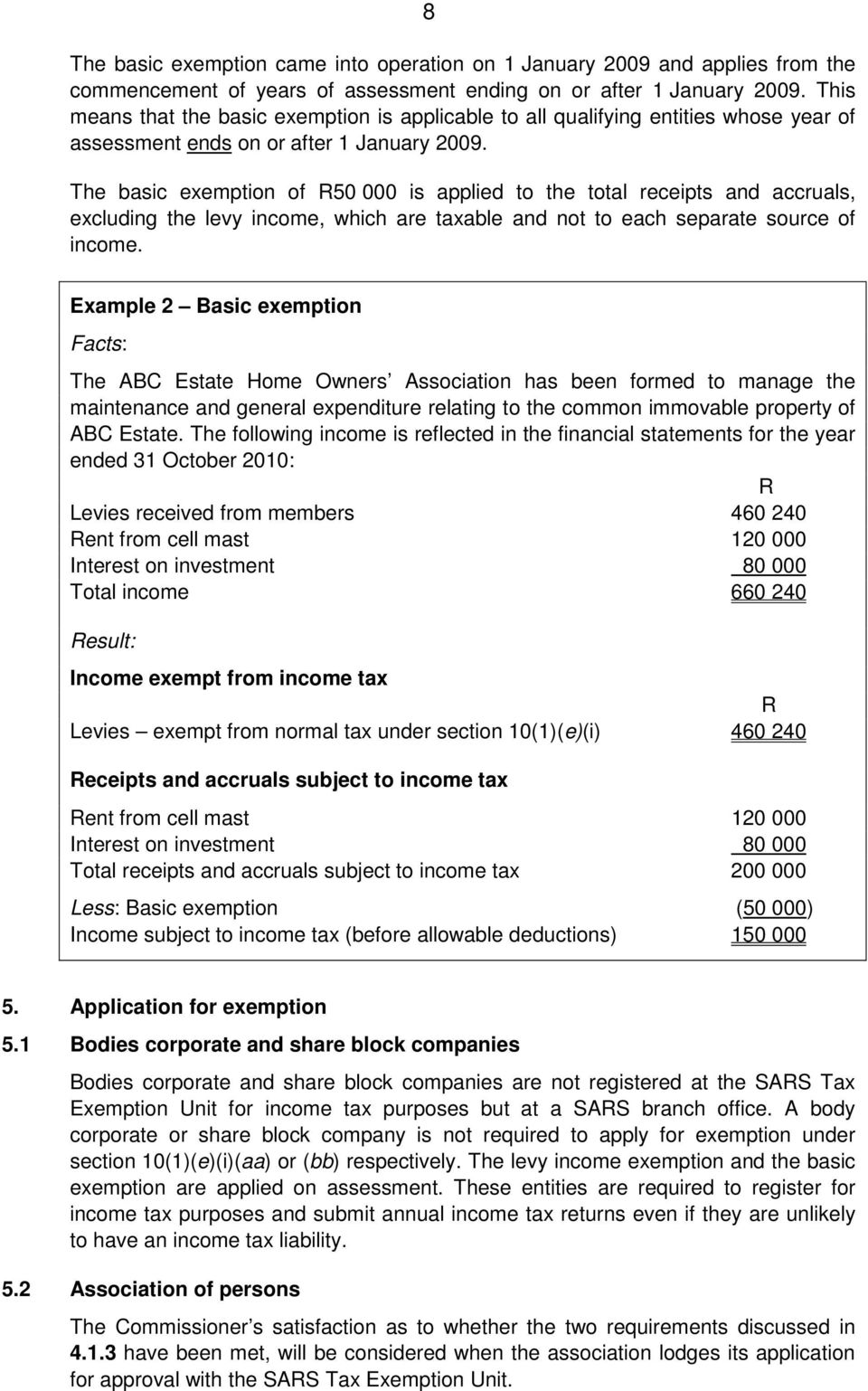 The basic exemption of R50 000 is applied to the total receipts and accruals, excluding the levy income, which are taxable and not to each separate source of income.