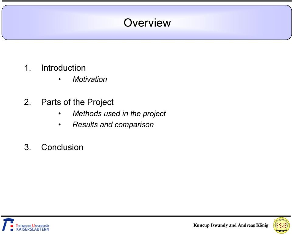 Parts of the Project Methods