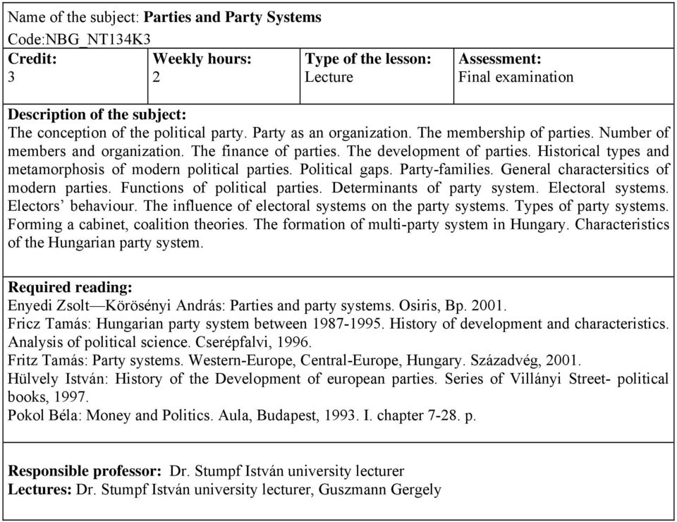 General charactersitics of modern parties. Functions of political parties. Determinants of party system. Electoral systems. Electors behaviour. The influence of electoral systems on the party systems.