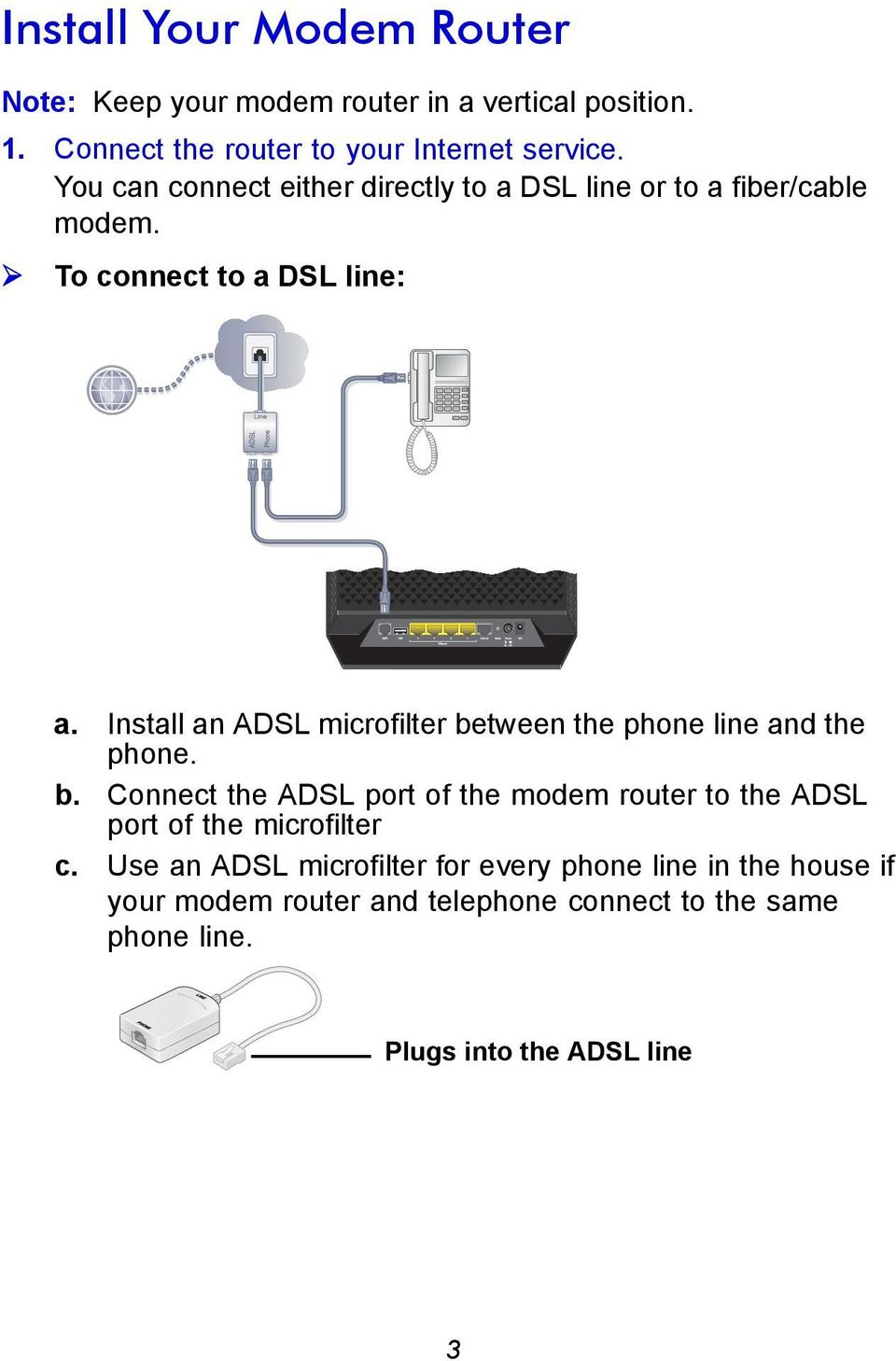 Install an ADSL microfilter between the phone line and the phone. b. Connect the ADSL port of the modem router to the ADSL port of the microfilter c.