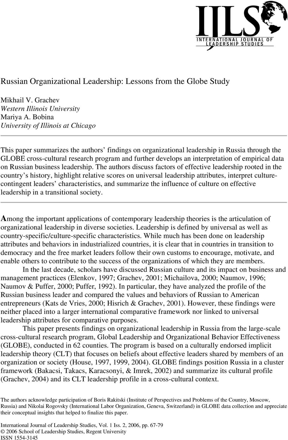 Russian Organizational Leadership: Lessons from the Globe