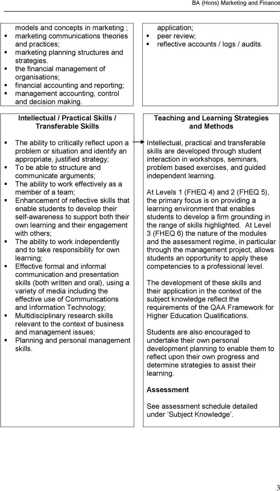 Intellectual / Practical Skills / Transferable Skills The ability to critically reflect upon a problem or situation and identify an appropriate, justified strategy; To be able to structure and