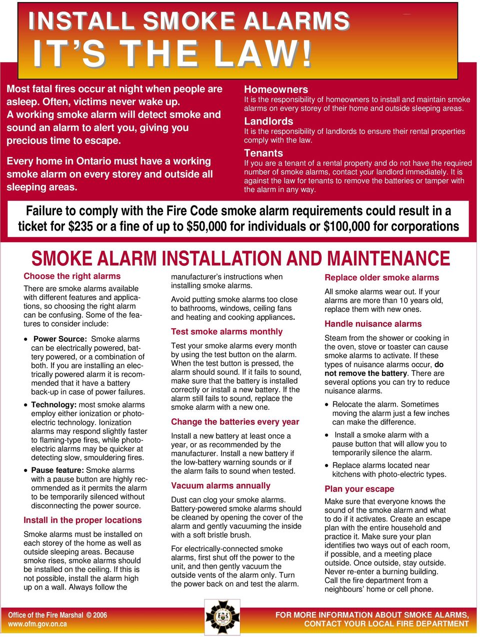 Every home in Ontario must have a working smoke alarm on every storey and outside all sleeping areas.