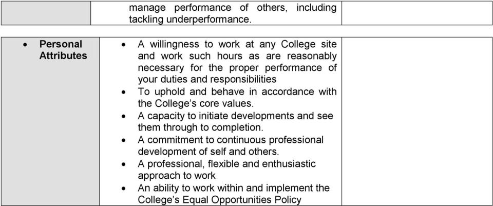 duties and responsibilities To uphold and behave in accordance with the College s core values.