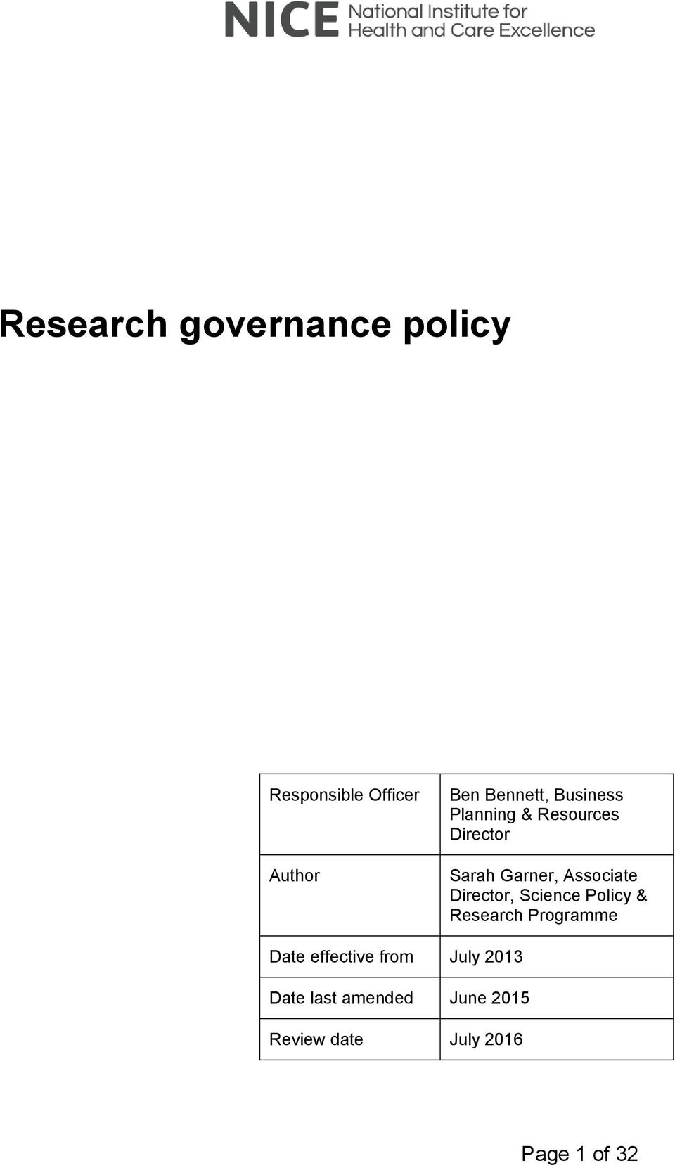 Director, Science Policy & Research Programme Date effective from