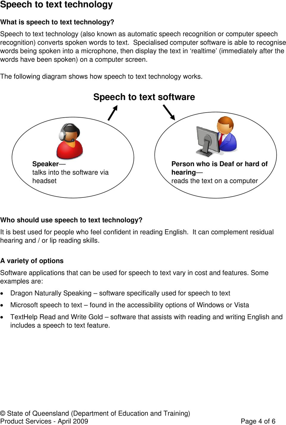 The following diagram shows how speech to text technology works.