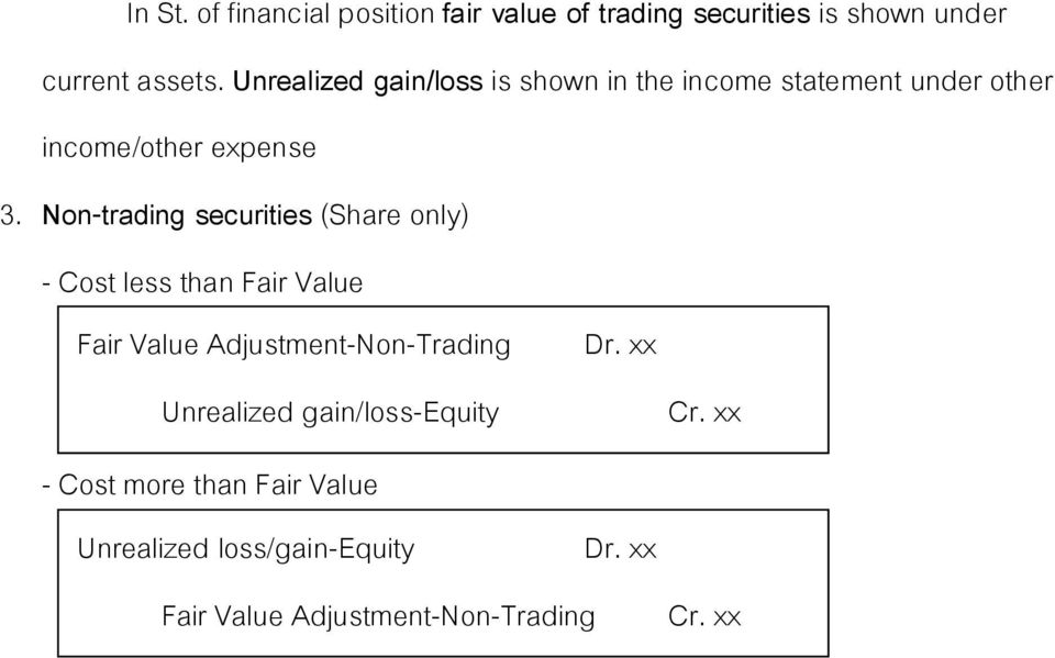 Non-trading securities (Share only) - Cost less than Fair Value Fair Value Adjustment-Non-Trading