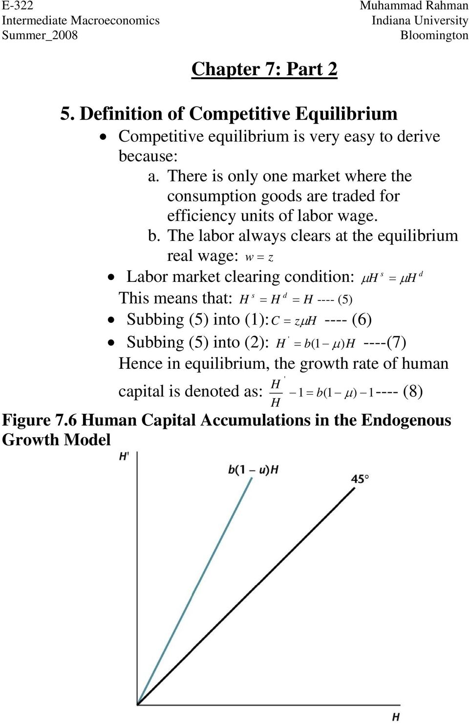 The labor always clears at the equilibrium real wage: w z s d Labor market clearing condition: s d This means that: ---- (5) Subbing (5) into
