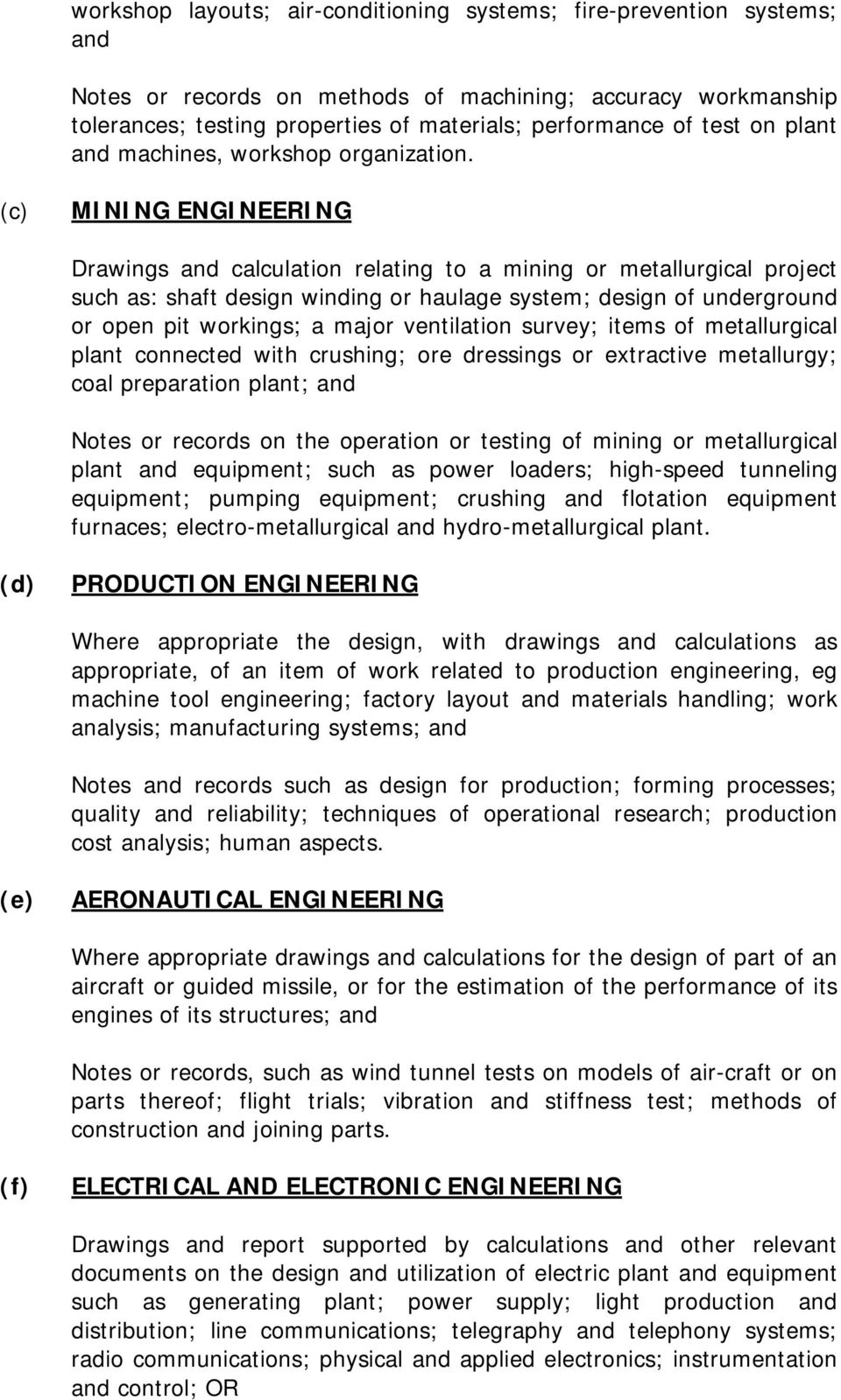 (c) MINING ENGINEERING Drawings and calculation relating to a mining or metallurgical project such as: shaft design winding or haulage system; design of underground or open pit workings; a major