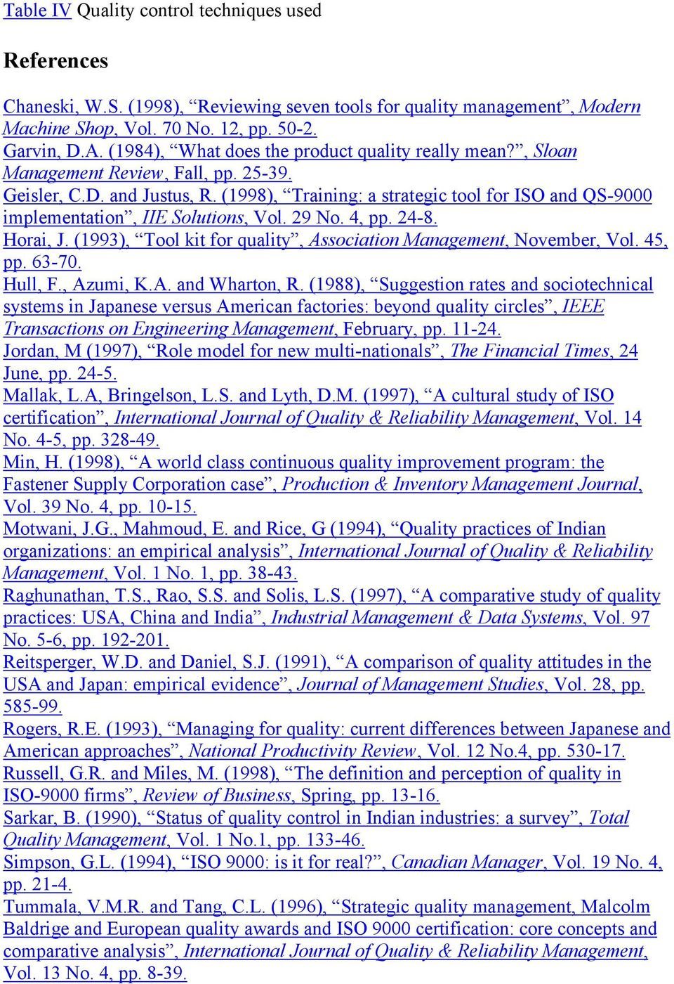 (1998), Training: a strategic tool for ISO and QS-9000 implementation, IIE Solutions, Vol. 29 No. 4, pp. 24-8. Horai, J. (1993), Tool kit for quality, Association Management, November, Vol. 45, pp.
