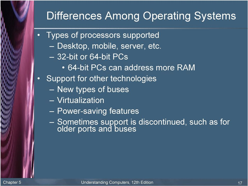 32-bit or 64-bit PCs 64-bit PCs can address more RAM Support for other technologies New