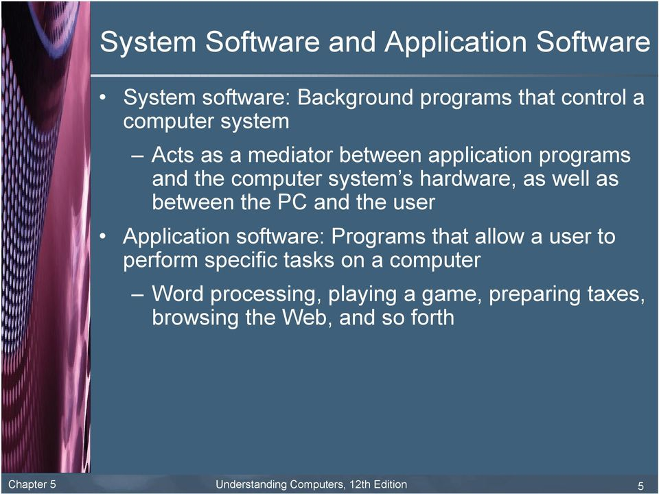 and the user Application software: Programs that allow a user to perform specific tasks on a computer Word