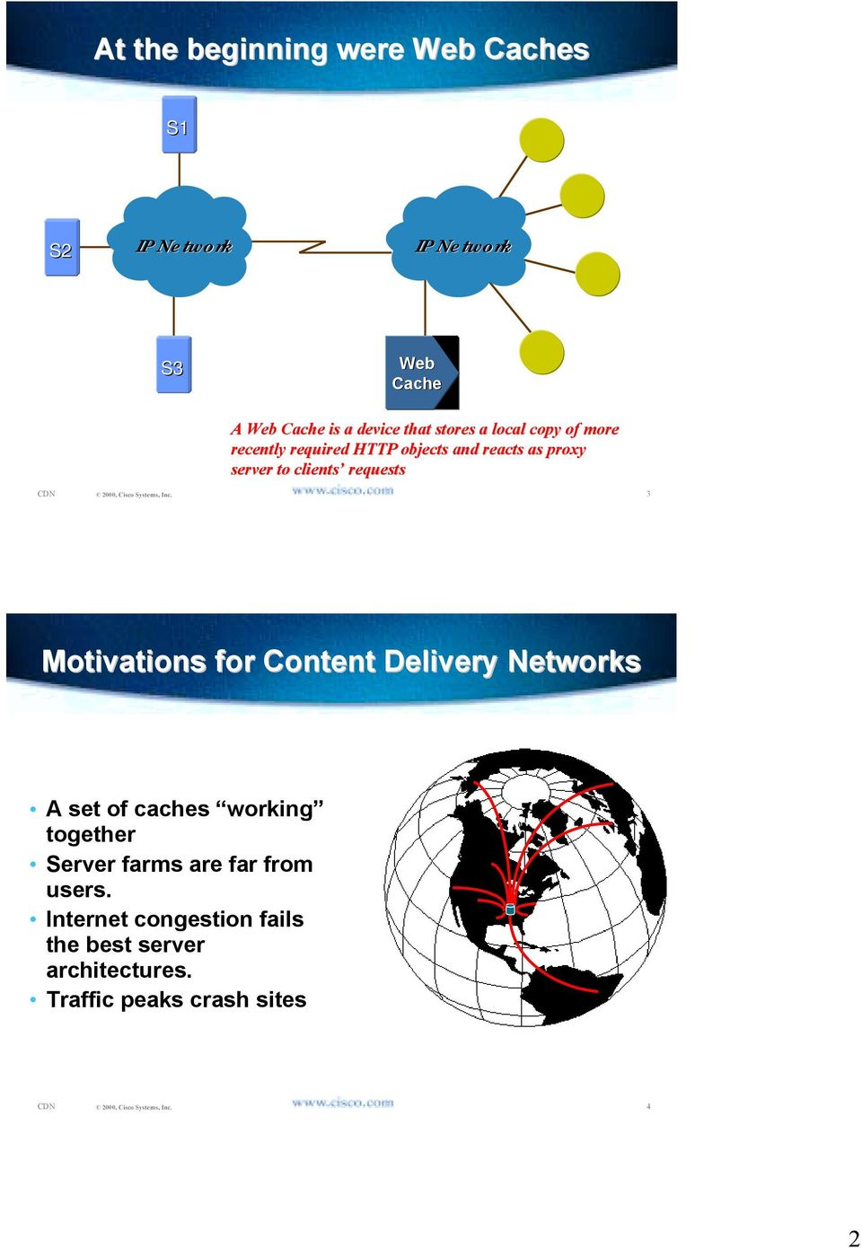 requests 3 Motivations for Content Delivery Networks A set of caches working together Server farms