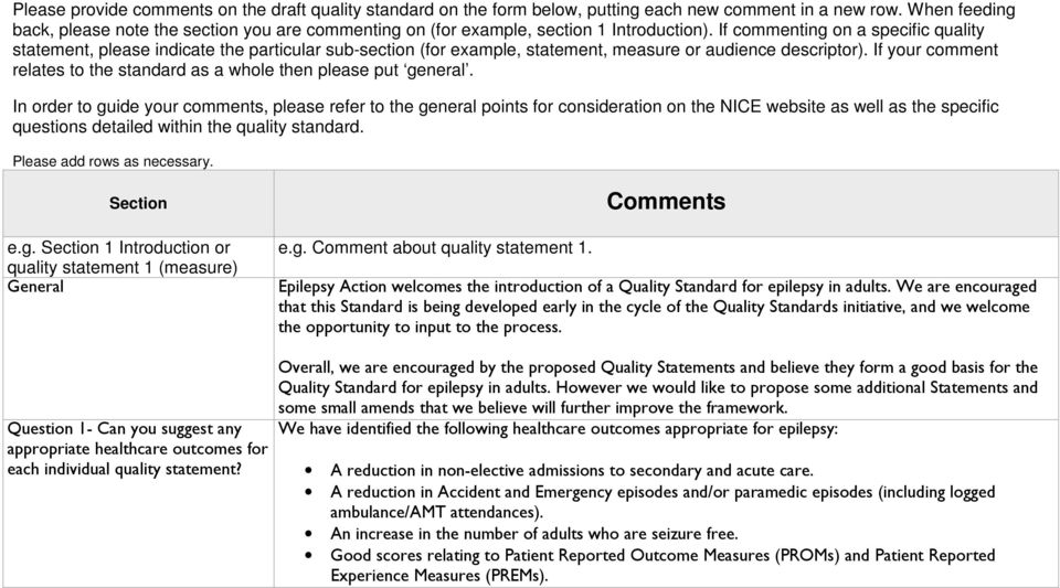 If commenting on a specific quality statement, please indicate the particular sub-section (for example, statement, measure or audience descriptor).
