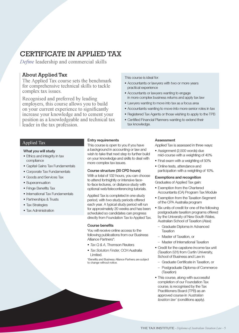 technical tax leader in the tax profession.