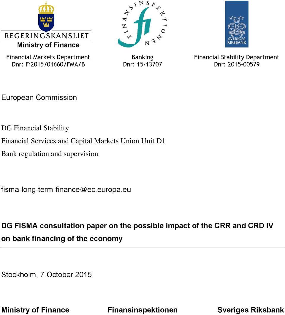 Bank regulation and supervision fisma-long-term-finance@ec.europa.