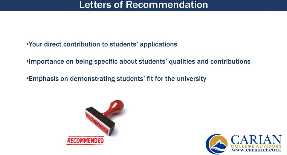 specific about students qualities and contributions