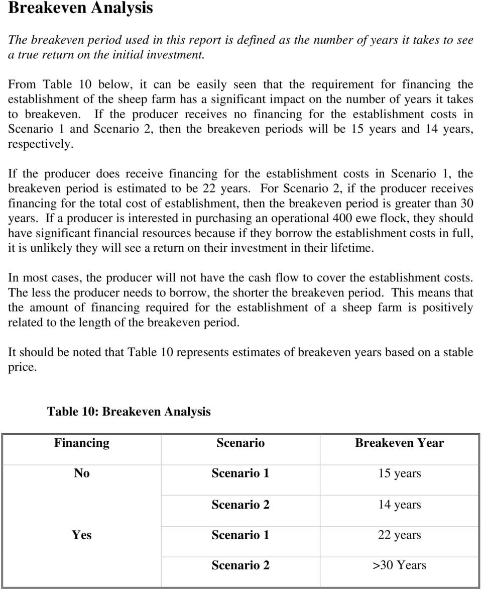 If the producer receives no financing for the establishment costs in Scenario 1 and Scenario 2, then the breakeven periods will be 15 years and 14 years, respectively.