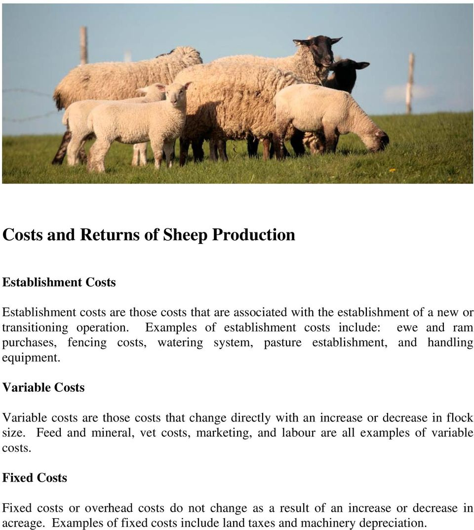 Variable Costs Variable costs are those costs that change directly with an increase or decrease in flock size.