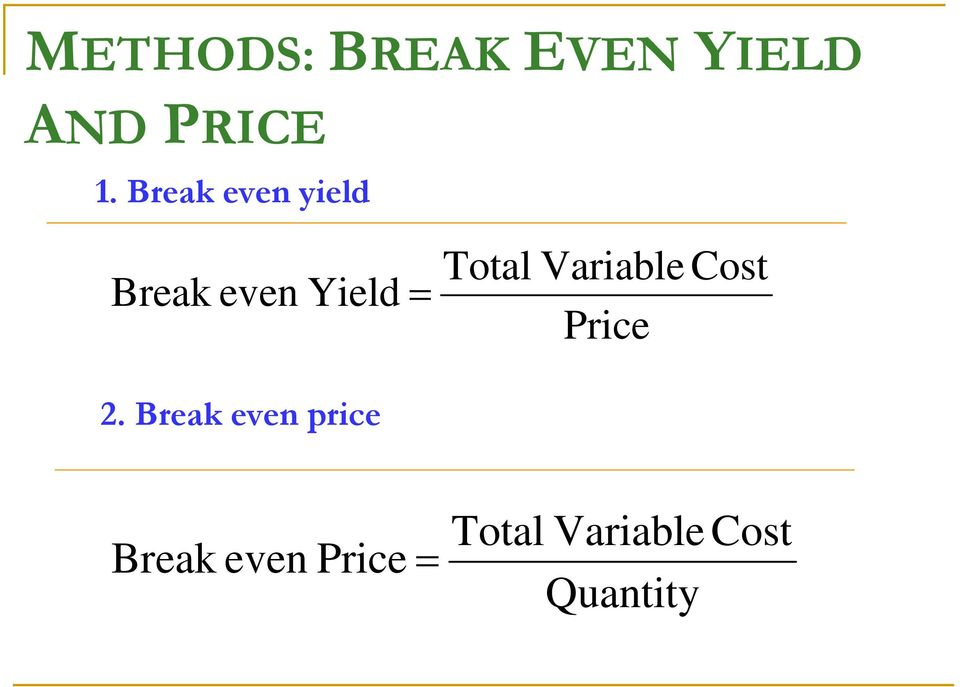 Variable Cost Price 2.