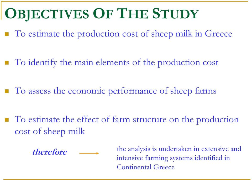 estimate the effect of farm structure on the production cost of sheep milk therefore the