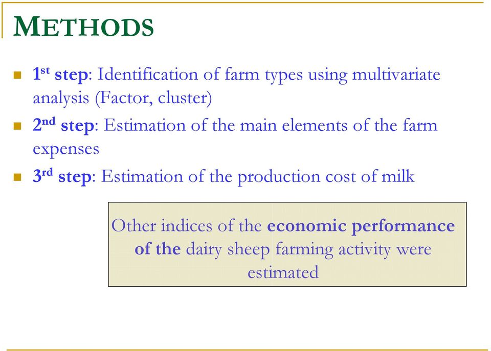 expenses 3 rd step: Estimation of the production cost of milk Other indices