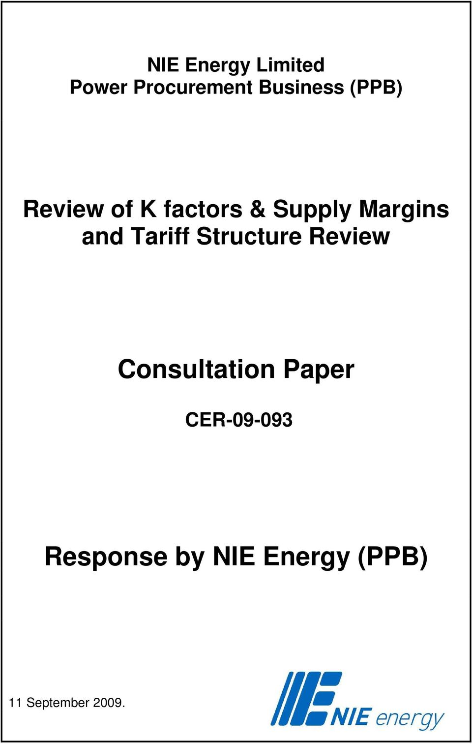 Tariff Structure Review Consultation Paper