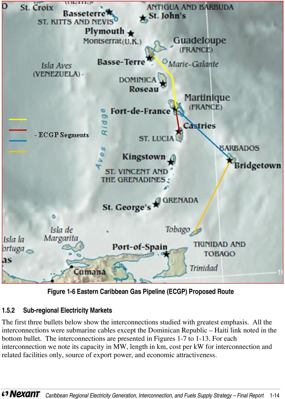 All the interconnections were submarine cables except the Dominican Republic Haiti link noted in the bottom bullet.