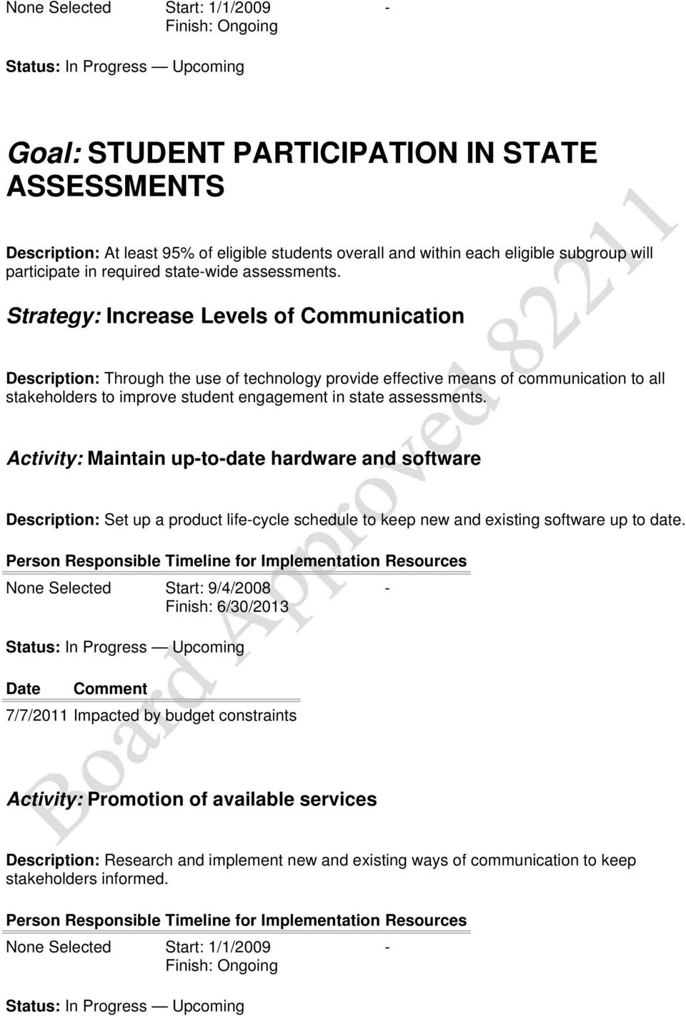 Strategy: Increase Levels of Communication Description: Through the use of technology provide effective means of communication to all stakeholders to improve student engagement in state assessments.