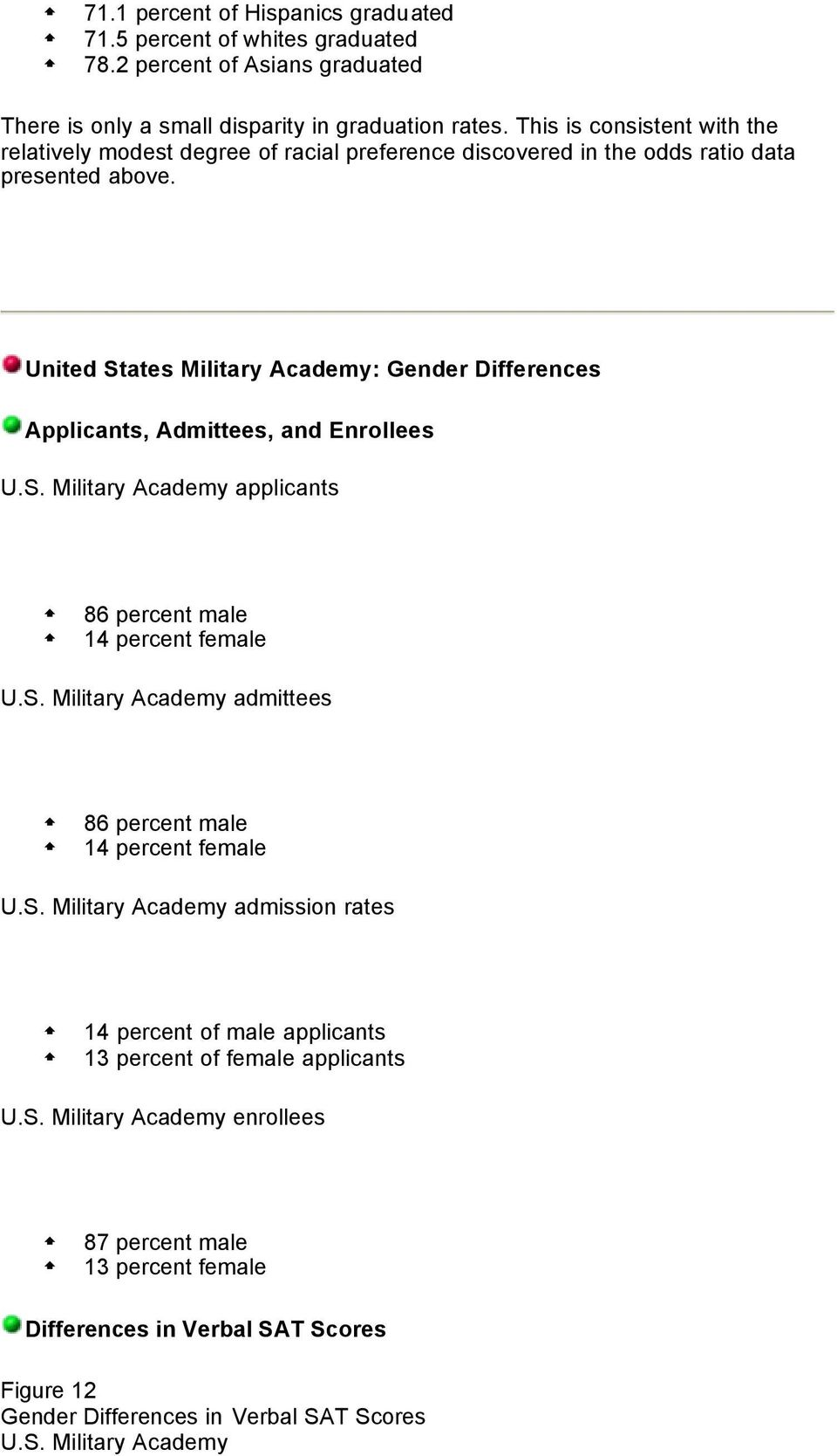United States Military Academy: Gender Differences Applicants, Admittees, and Enrollees U.S. Military Academy applicants 86 percent male 14 percent female U.S. Military Academy admittees 86 percent male 14 percent female U.