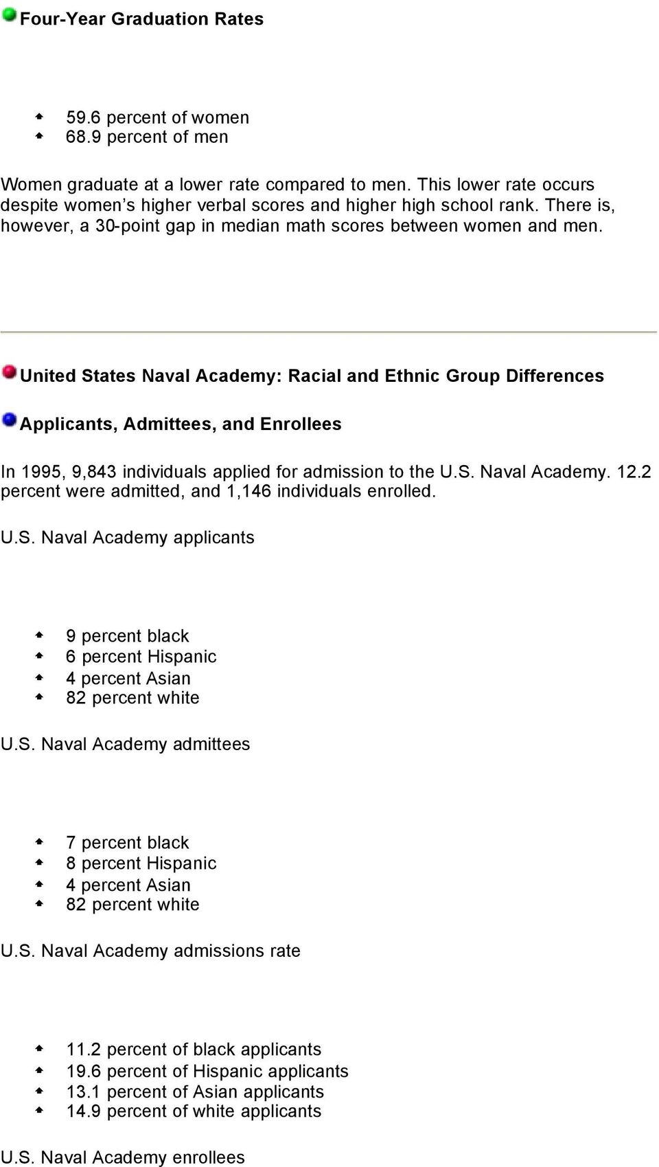 United States Naval Academy: Racial and Ethnic Group Differences Applicants, Admittees, and Enrollees In 1995, 9,843 individuals applied for admission to the U.S. Naval Academy. 12.