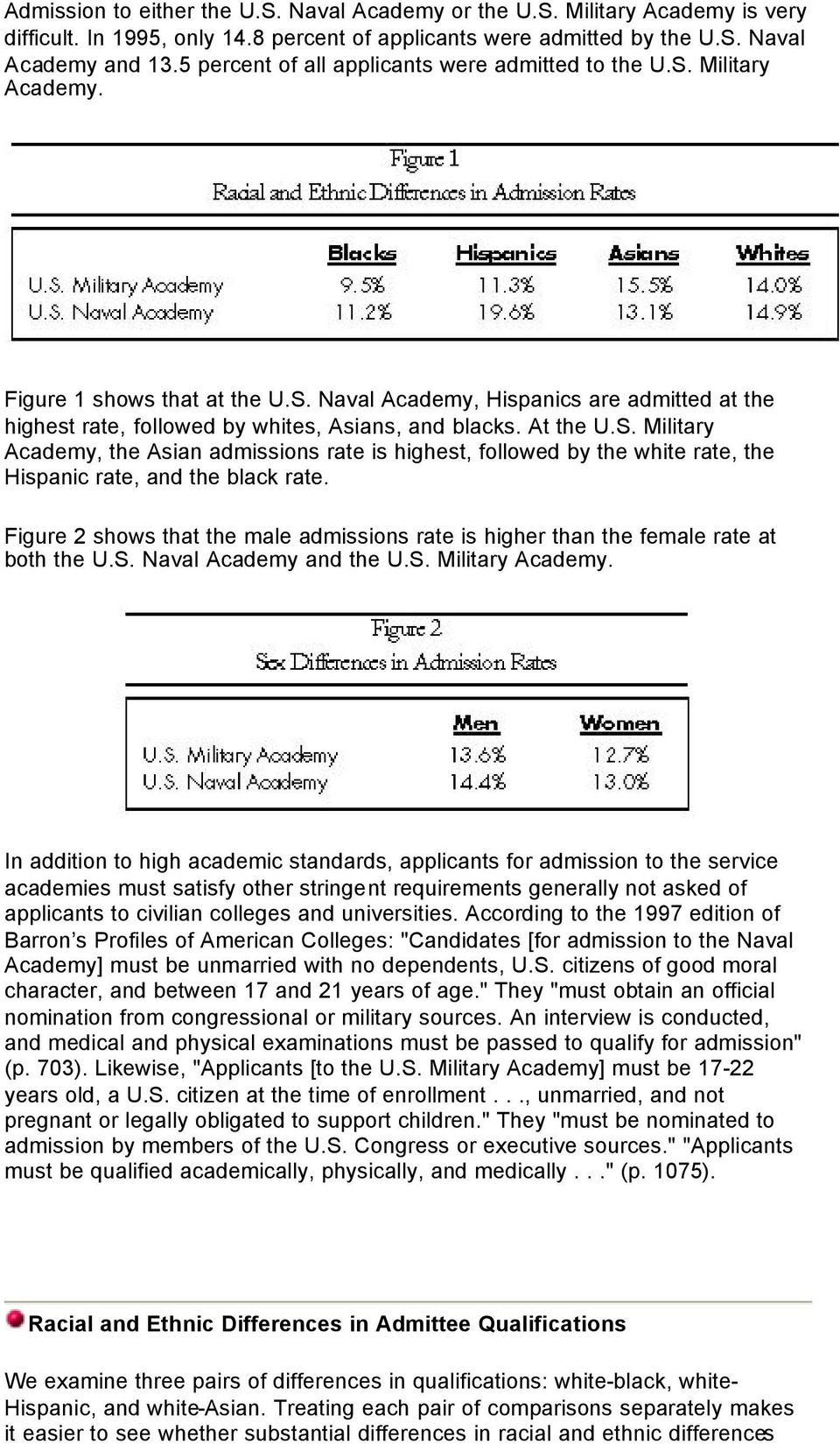 At the U.S. Military Academy, the Asian admissions rate is highest, followed by the white rate, the Hispanic rate, and the black rate.