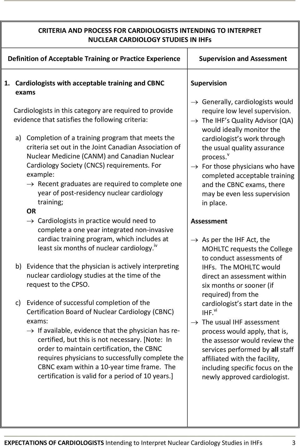 meets the criteria set out in the Joint Canadian Association of Nuclear  Medicine (CANM)