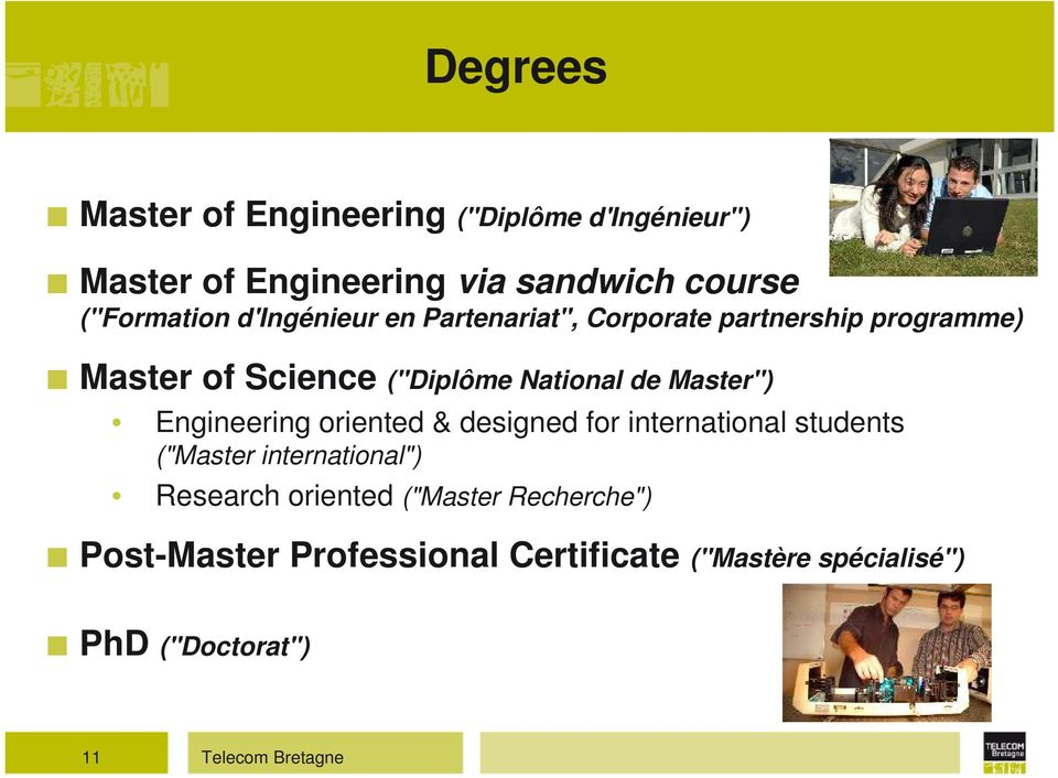 "Master"") Engineering oriented & designed for international students (""Master international"") Research"