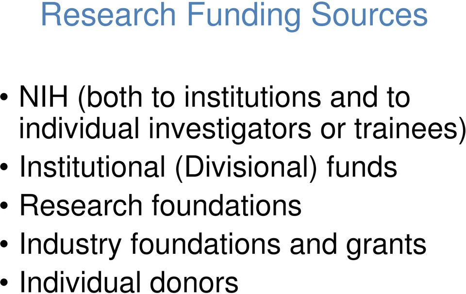 trainees) Institutional (Divisional) funds