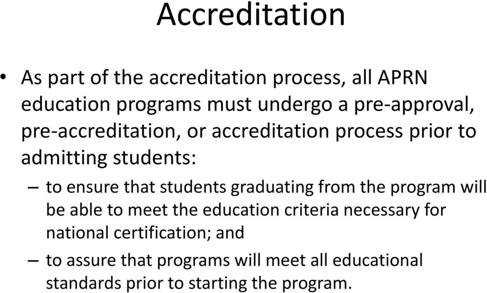 students graduating from the program will be able to meet the education criteria necessary for
