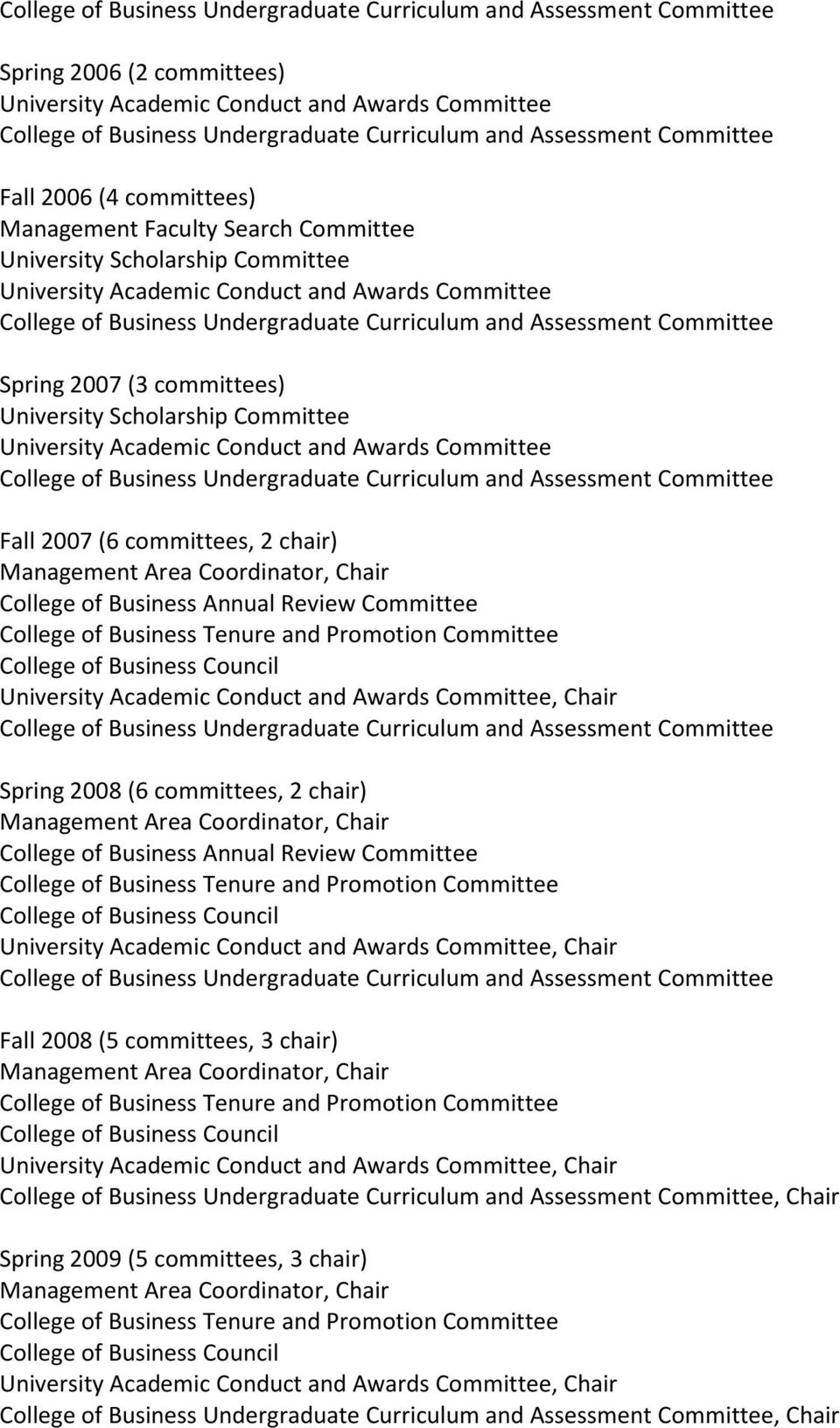 Committee University Academic Conduct and Awards Committee, Chair Spring 2008 (6 committees, 2 chair) College of Business Annual Review Committee University Academic Conduct and Awards Committee,