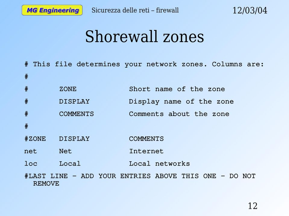 zone # COMMENTS Comments about the zone # #ZONE DISPLAY COMMENTS net Net