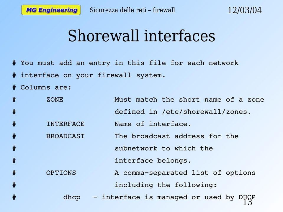 # INTERFACE Name of interface.